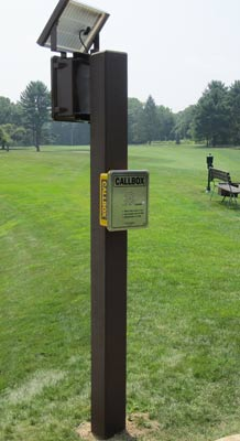 golf course intercom with solar panel