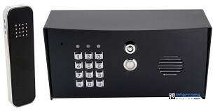 Wired Gate Intercom with Keypad and Black Handsfree Station