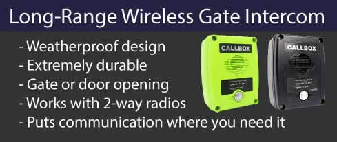 Long-range 2-way radio gate intercom