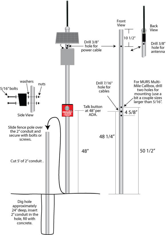 Pole mounting a wireless intercom