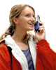 Woman using 2-way radio